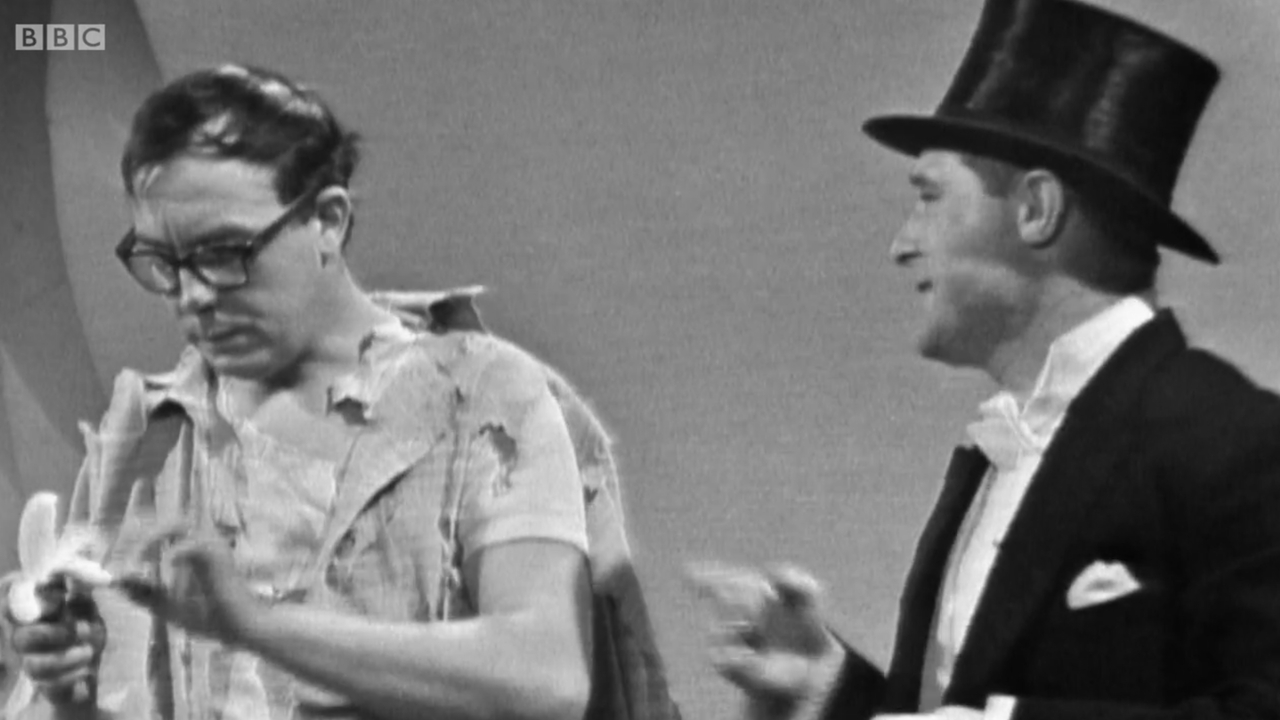 A still from an early Morecambe & Wise performance.
