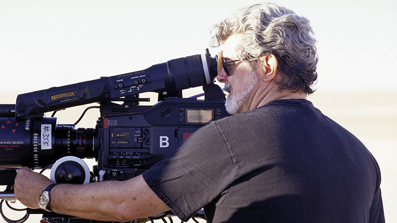 George Lucas with an Panavised HDCAM. Image: Lucas Film.