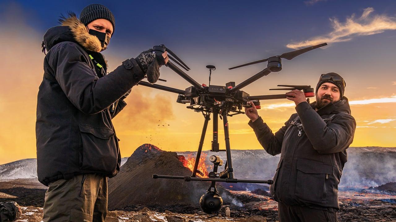 Ragnar Th. Sigurðsson, founder of Arctic Images, and drone pilot Arnar Þór Þórsson.
