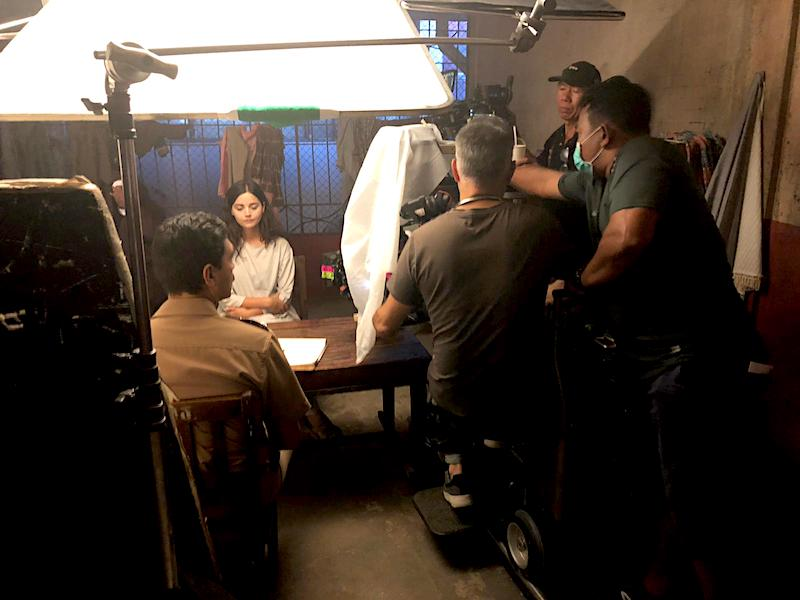 Jenna Coleman being filmed in one of the series later episodes as her character confesses to the crimes of her partner, Charles Sobraj. Image: Si Bell.