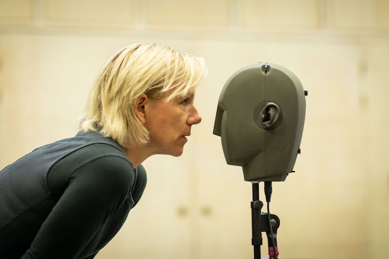 Juliet Stevenson records audio for the show,