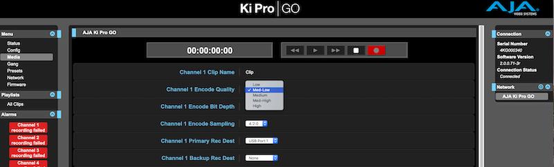 Ki Pro GO encoding quality settings.