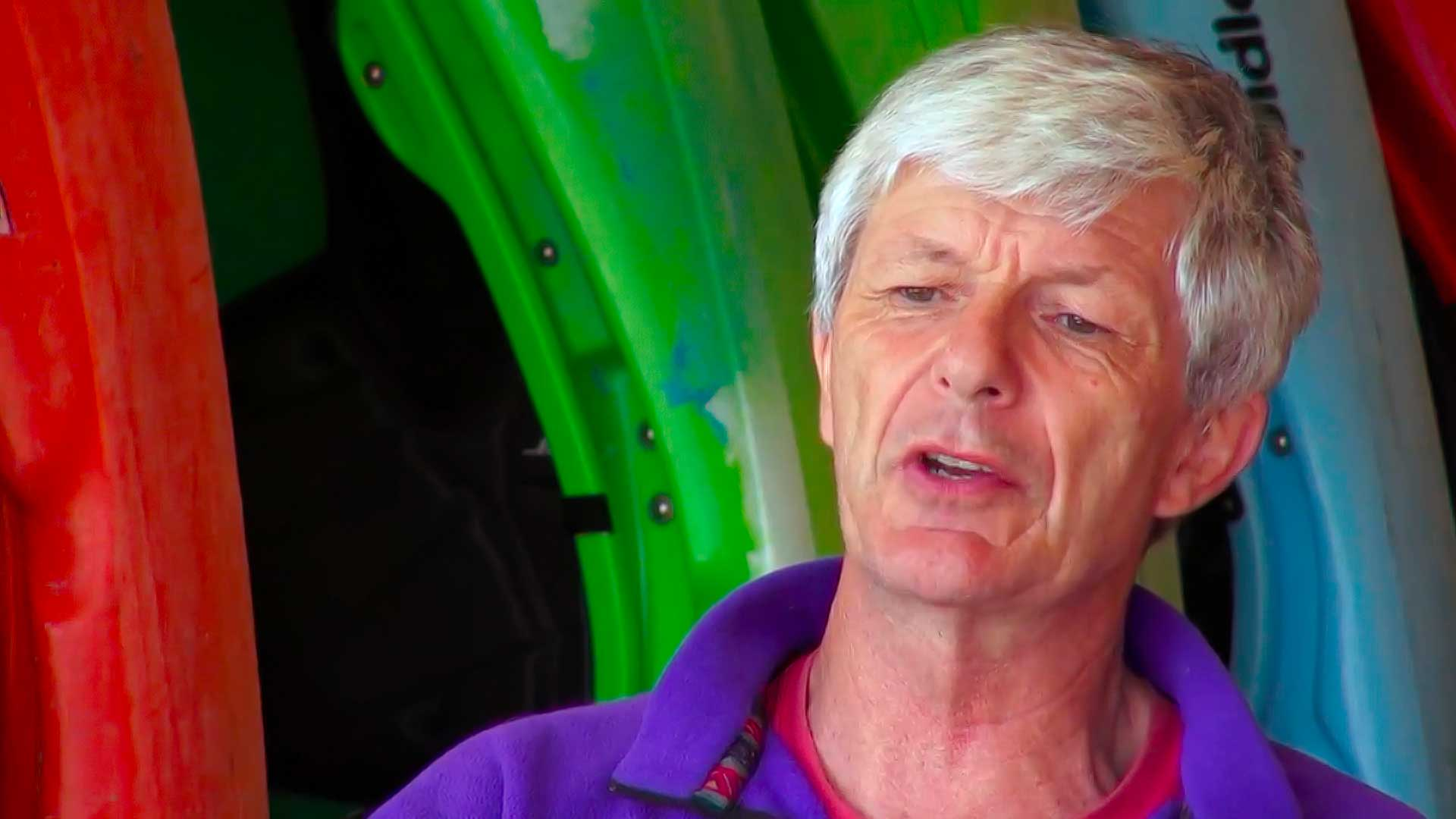 Kayaking legend Mick Hopkinson being interviewed for the documentary