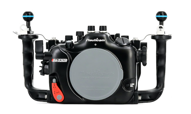 Front view of the Nauticam NA-α2020 housing.