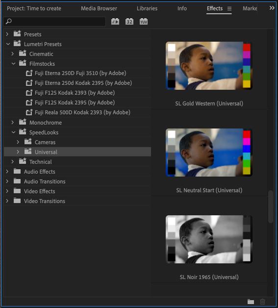 Lumetri presets in Adobe's Premiere Pro April 2021 update.