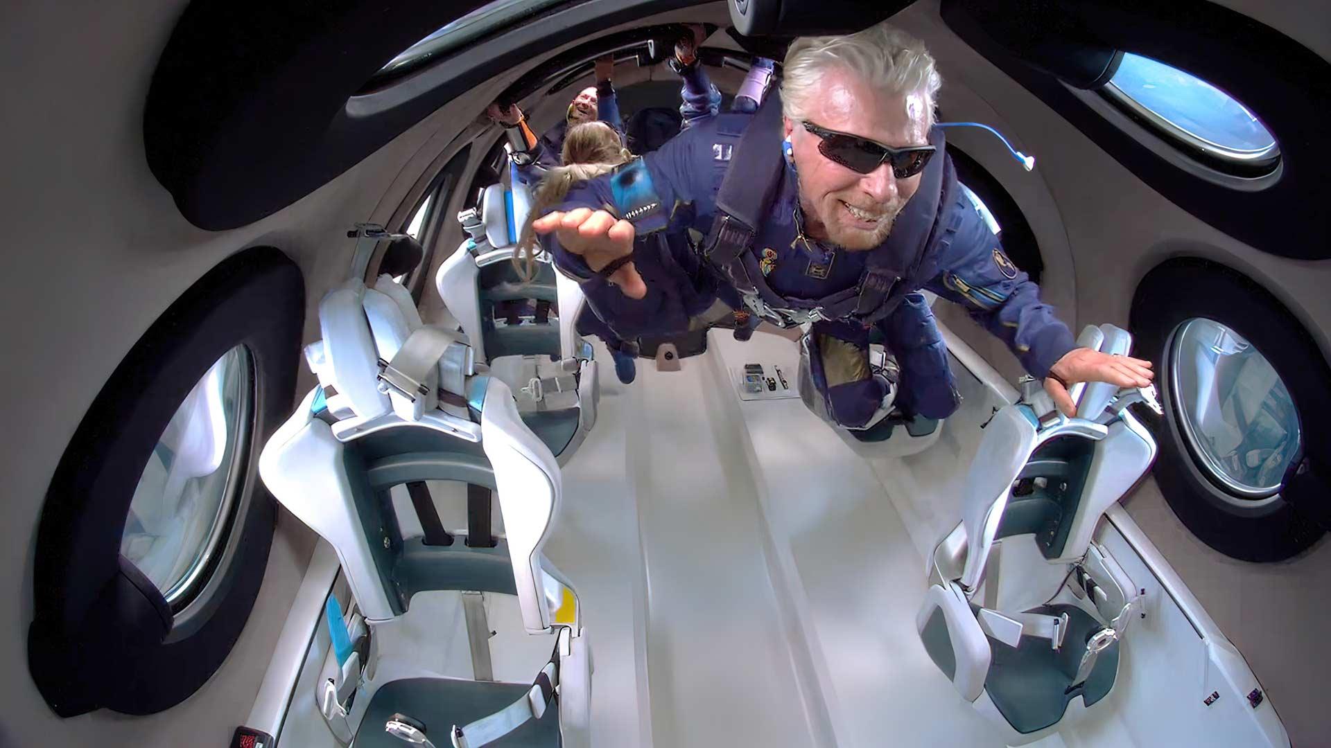 Richard Branson experiences zero-g on board the Unity 22 Virgin Galactic flight. Image: Virgin Galactic