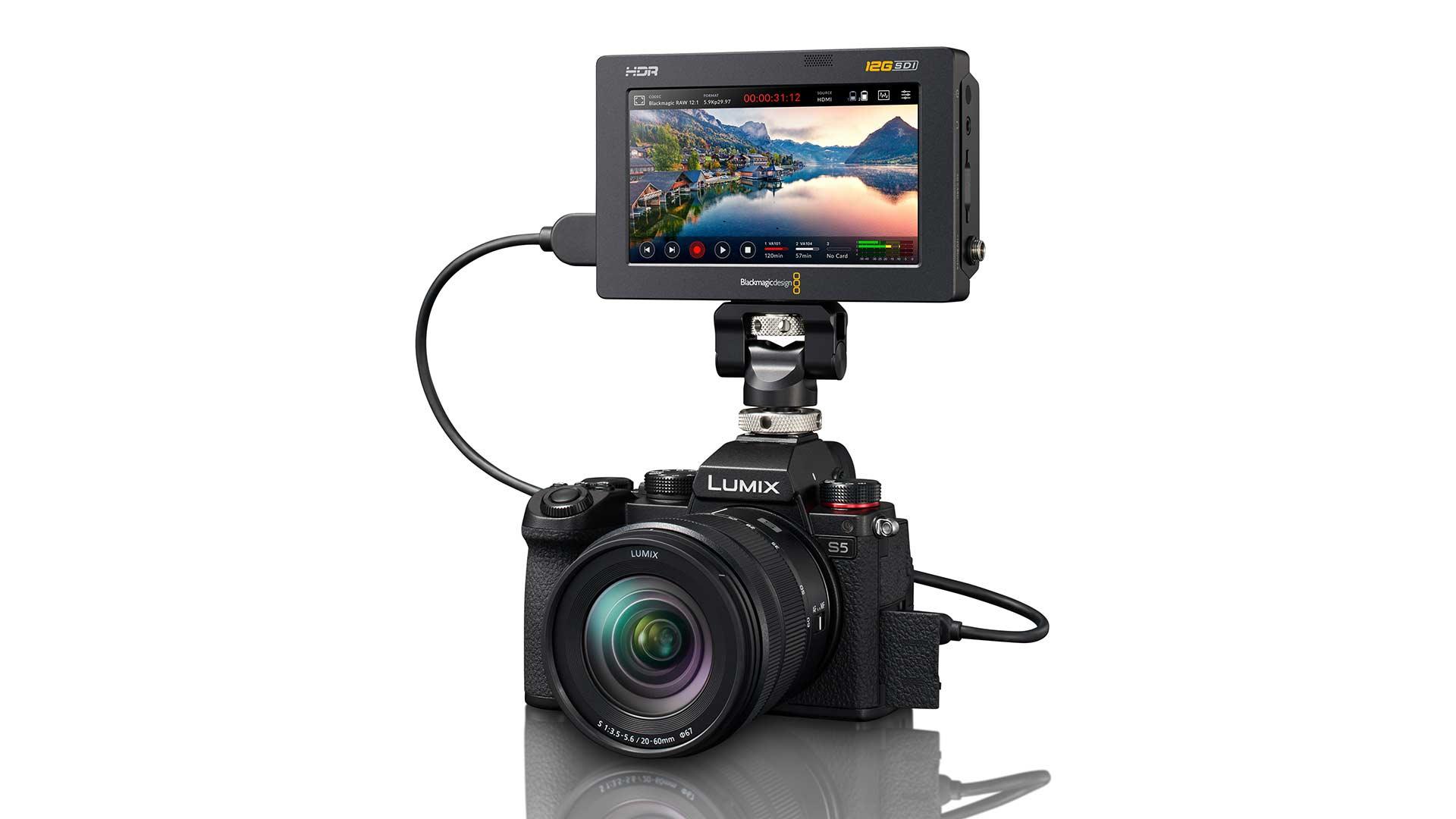 The Panasonic Lumix S5 with a Blackmagic Design Video Assist 12G HDR monitor/recorder. Image: Panasonic.