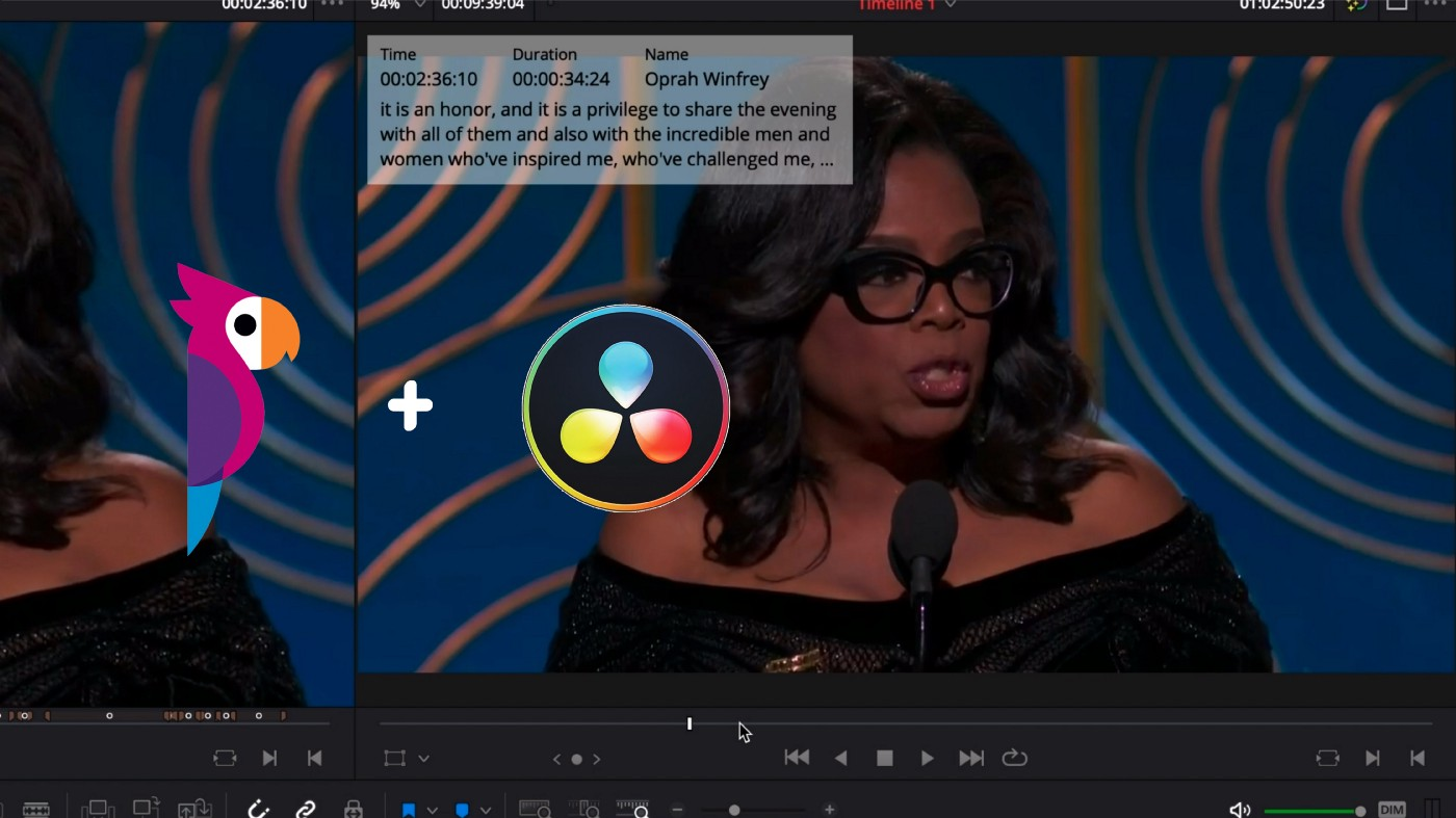 Transcription and subtitles can now be created within Resolve using Simon Says' new integration. Image: Simon Says.