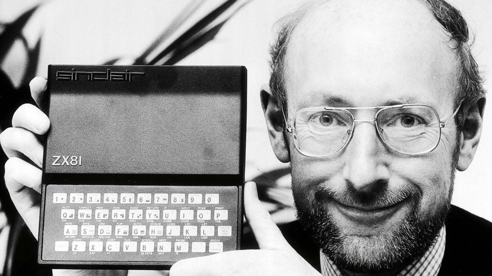 Sir Clive Sinclair with the iconic ZX81 computer.