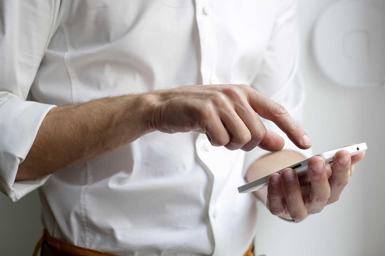 Man using a smartphone.