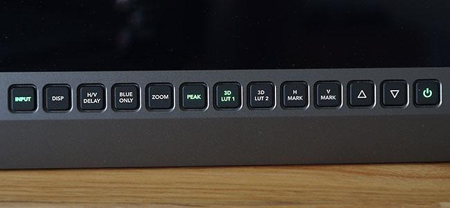 Illuminated buttons on the Blackmagic Design SmartView 4K monitor.