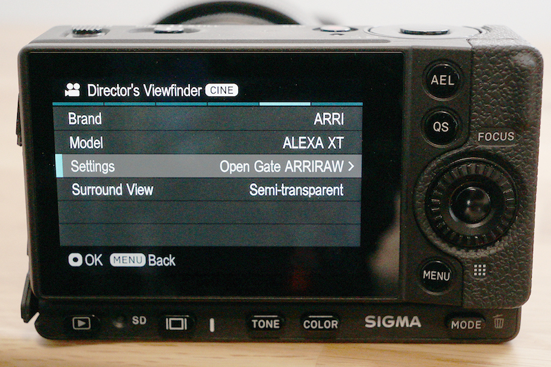 Sigma fp director's viewfinder options.
