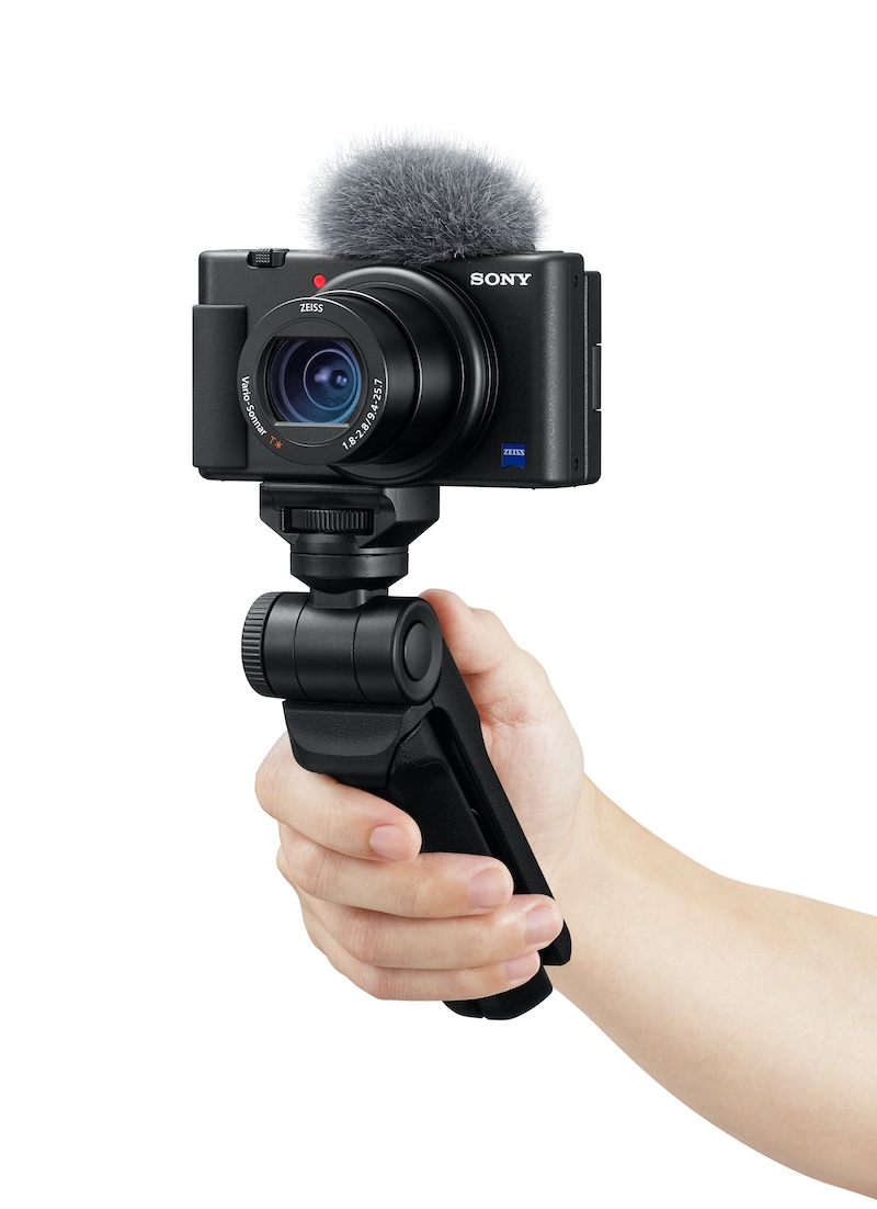 The Sony ZV-1 Vlog camera on a hand grip