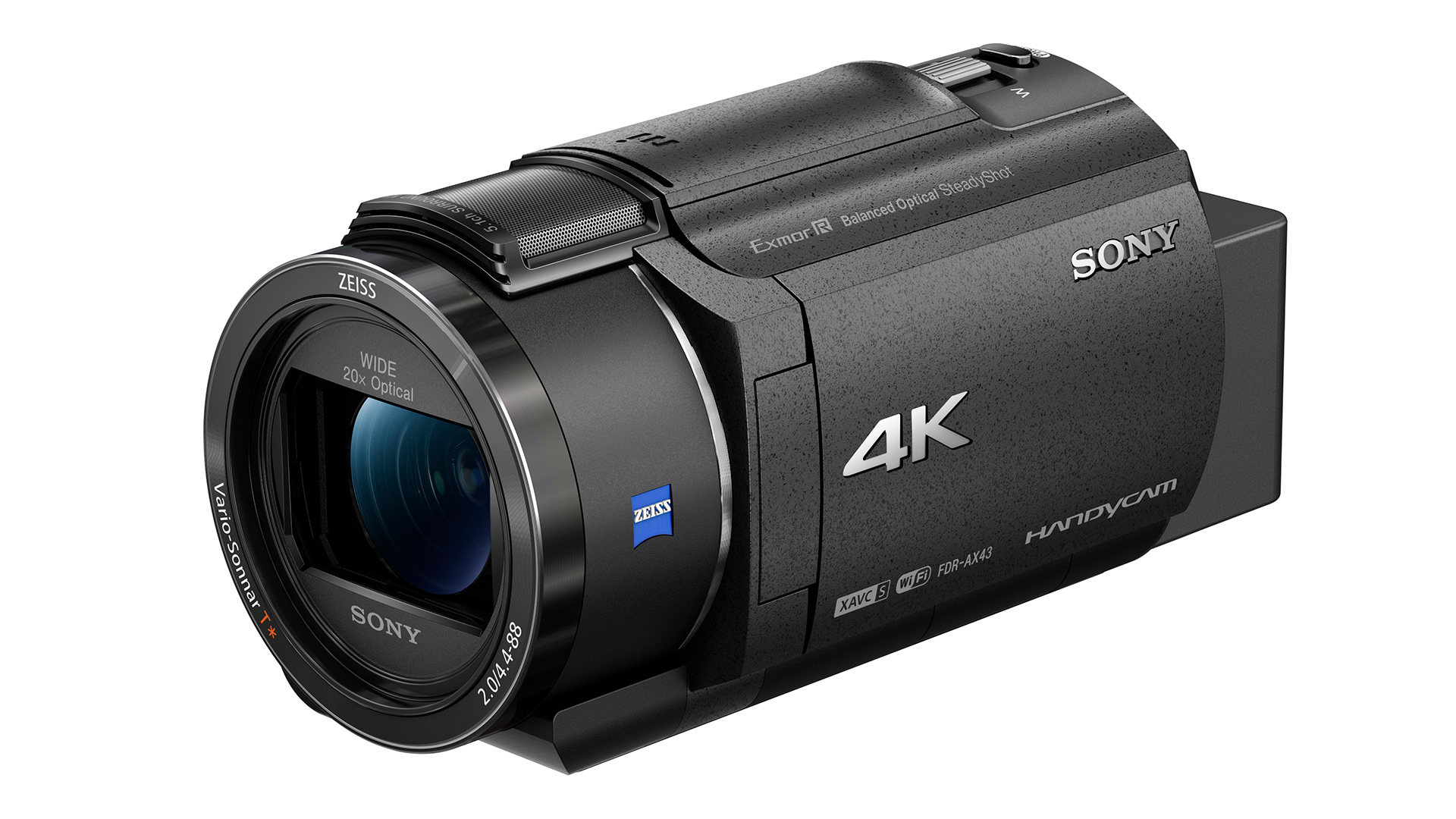 The Sony FDR-AX3 camcorder.