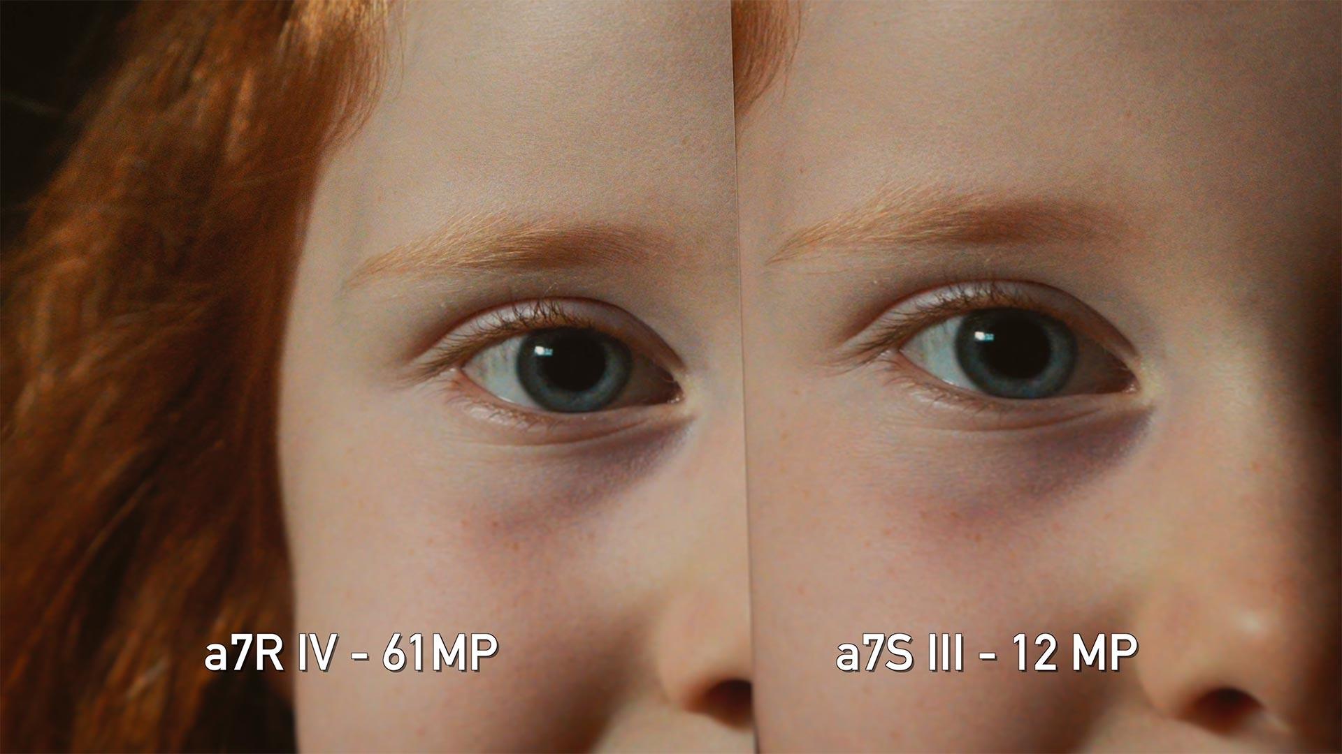 The 61MP A7R IV (left) vs the A7S III (right) in low light. Image: DP Review.