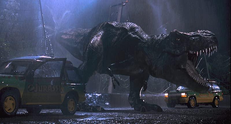 T Rex attacks in Jurassic Park