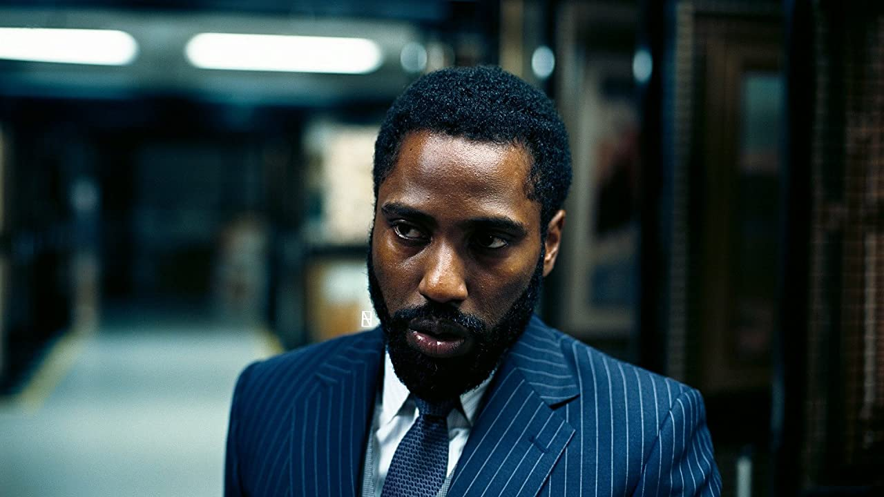 What was that you said again? John David Washington in Tenet.