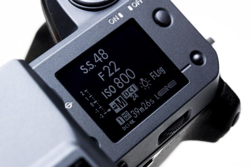 The GFX100 top LCD in video mode.