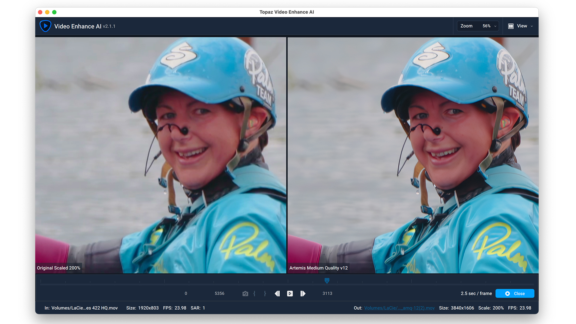 Topaz Video Enhance AI does an amazing job of upscaling.
