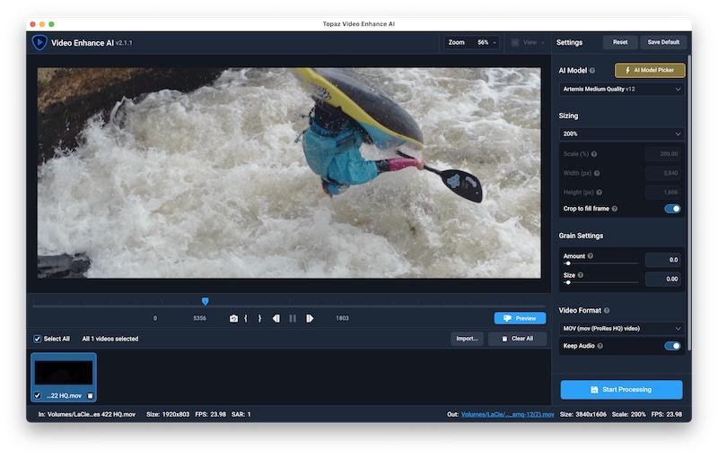 Topaz Video Enhance AI interface.