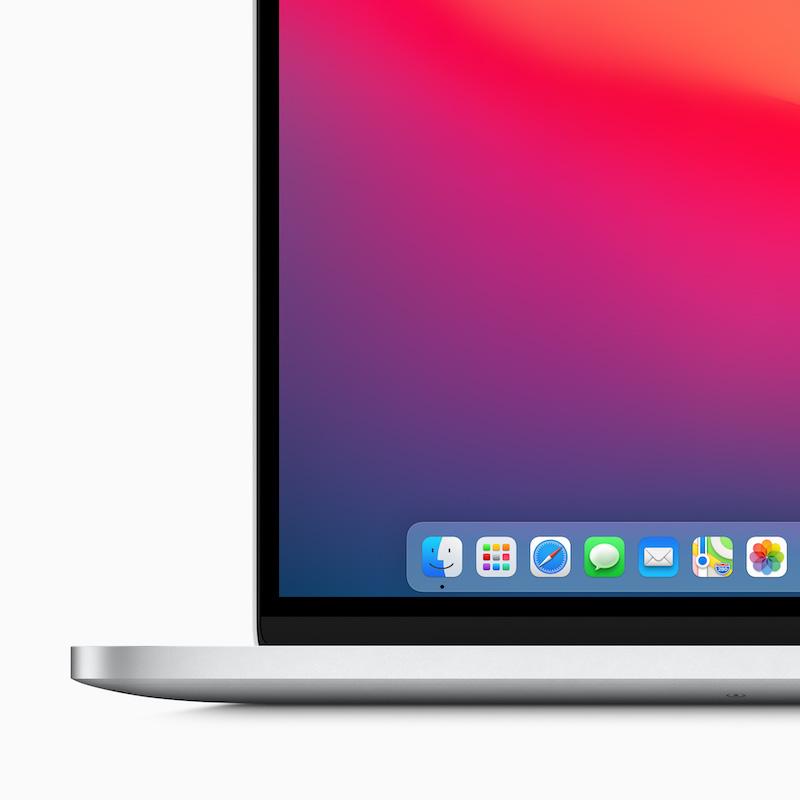 macOS Big Sur redesigned Dock. Image: Apple.