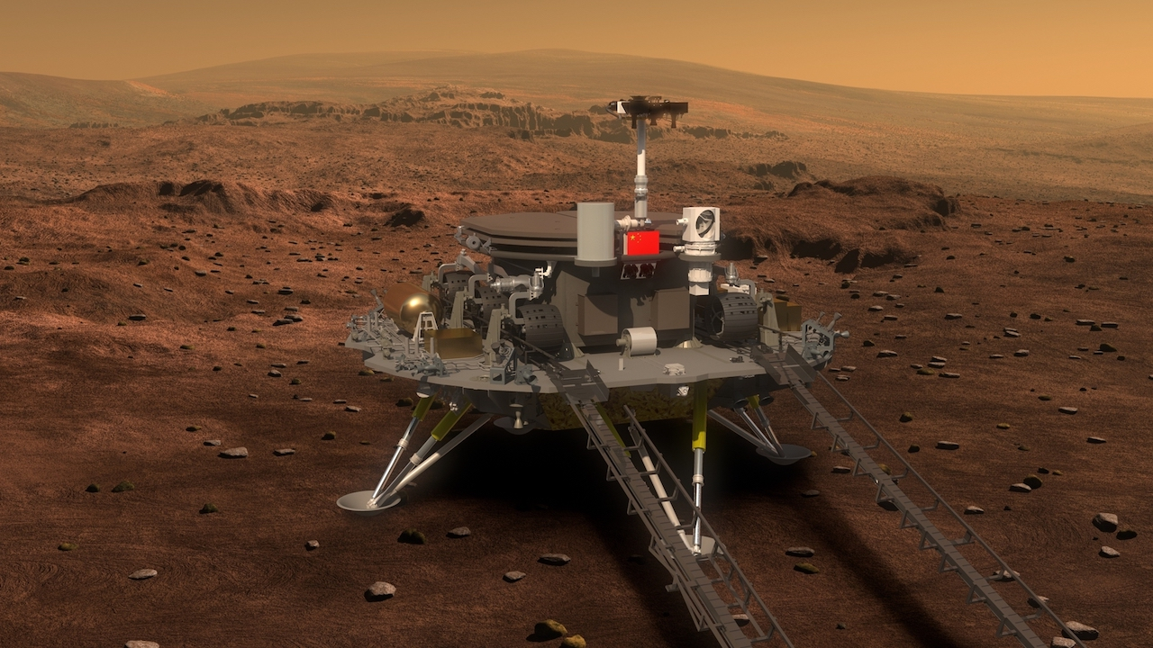 An artist's impression of the Chinese Zhurong Mars lander.